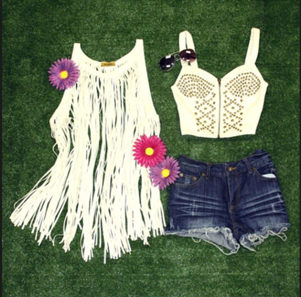 top top studded crop top bustier bralette fringed top white leather fringe top