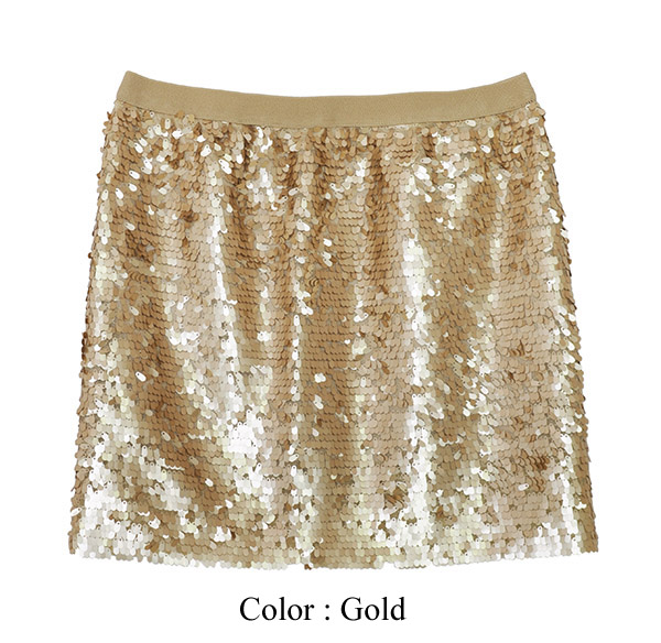 New Womens Sexy Sequin Mini Skirt Gold Size M | eBay