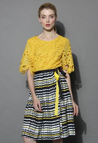 top floral dream crochet cutout top in mustard chicwish crochet top mustard top summer top chicwish.com