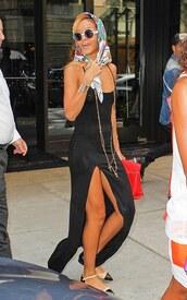 dress,black,black dress,maxi dress,rihanna,side split maxi dress,spaghetti strap,river island,side split maxidress,slit,black maxi dress