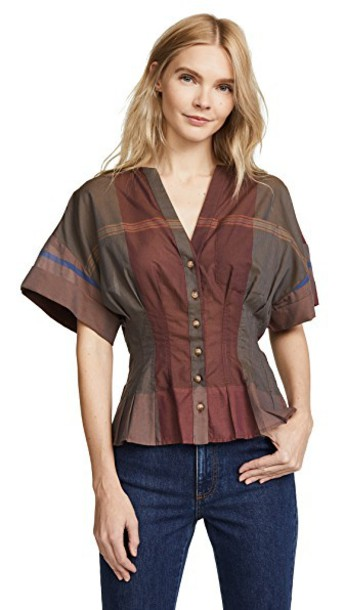 SEA blouse pleated short chocolate top