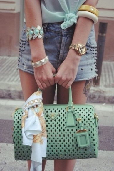 bag leather bag shorts mint purse handbag studded purse studded shorts high waisted short