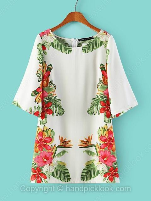 White Round Neck Half Sleeve Floral Print Dress - HandpickLook.com