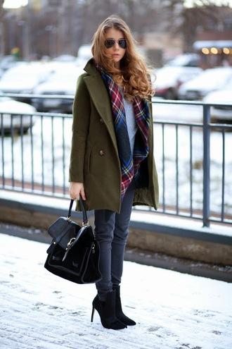 acid coke blogger khaki grey jeans satchel bag tartan scarf