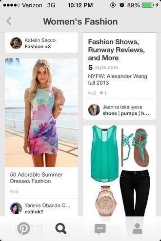 dress fashion style summer dress multi colored cute dress