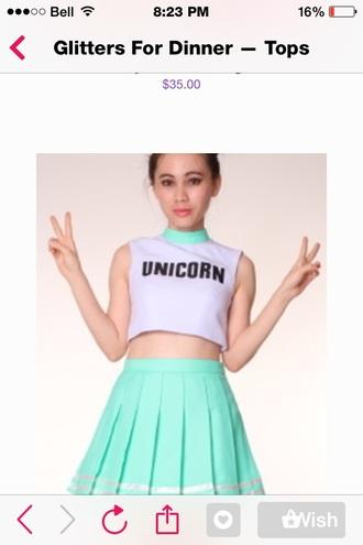 top pastel hipster unicorn cheerleading unicorn shirt crop tops