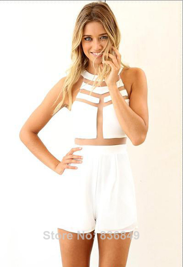 Aliexpress.com : Buy J1 2014 Newest Style Womens Sexy Jumpsuits White High Neckline Playsuit With Mesh Cutout Detail Mesh Sleeveless Overalls from Reliable pants gym suppliers on Smile's Super Store