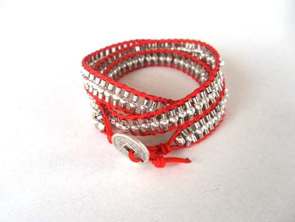 wrap bracelet jewels red boho handmade red bracelet