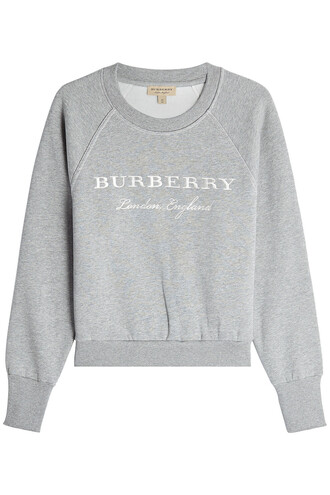 sweatshirt embroidered cotton grey sweater