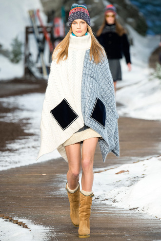 coat knitwear poncho winter outfits suede boots knitted beanie fashion week 2015 tommy hilfiger