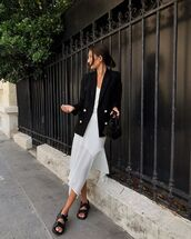 jacket,dress,white dress,slide shoes,black slides,blazer,black blazer