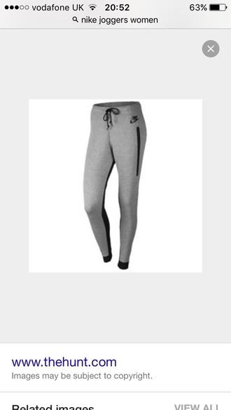 pants grey and black nike joggers