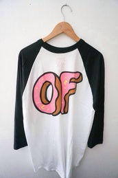 shirt,donut,white,baseball shirt,golf wang,odd future,tumblr,t-shirt,t shirt.,top,grunge t-shirt
