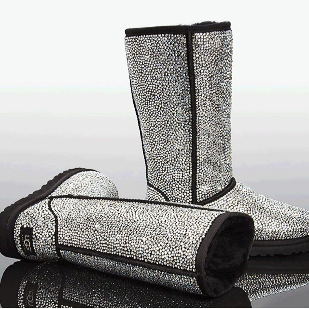 Tall fully crystallized bling black ugg boots by atouchofchanel