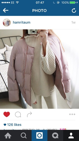coat pink coat pink cute girly puffer coat warm pretty puffer jacket pink puffer jacket puffercoat padded coat pastel cotton candy