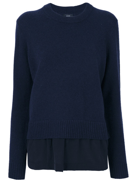 Joseph sweater women layered blue silk wool