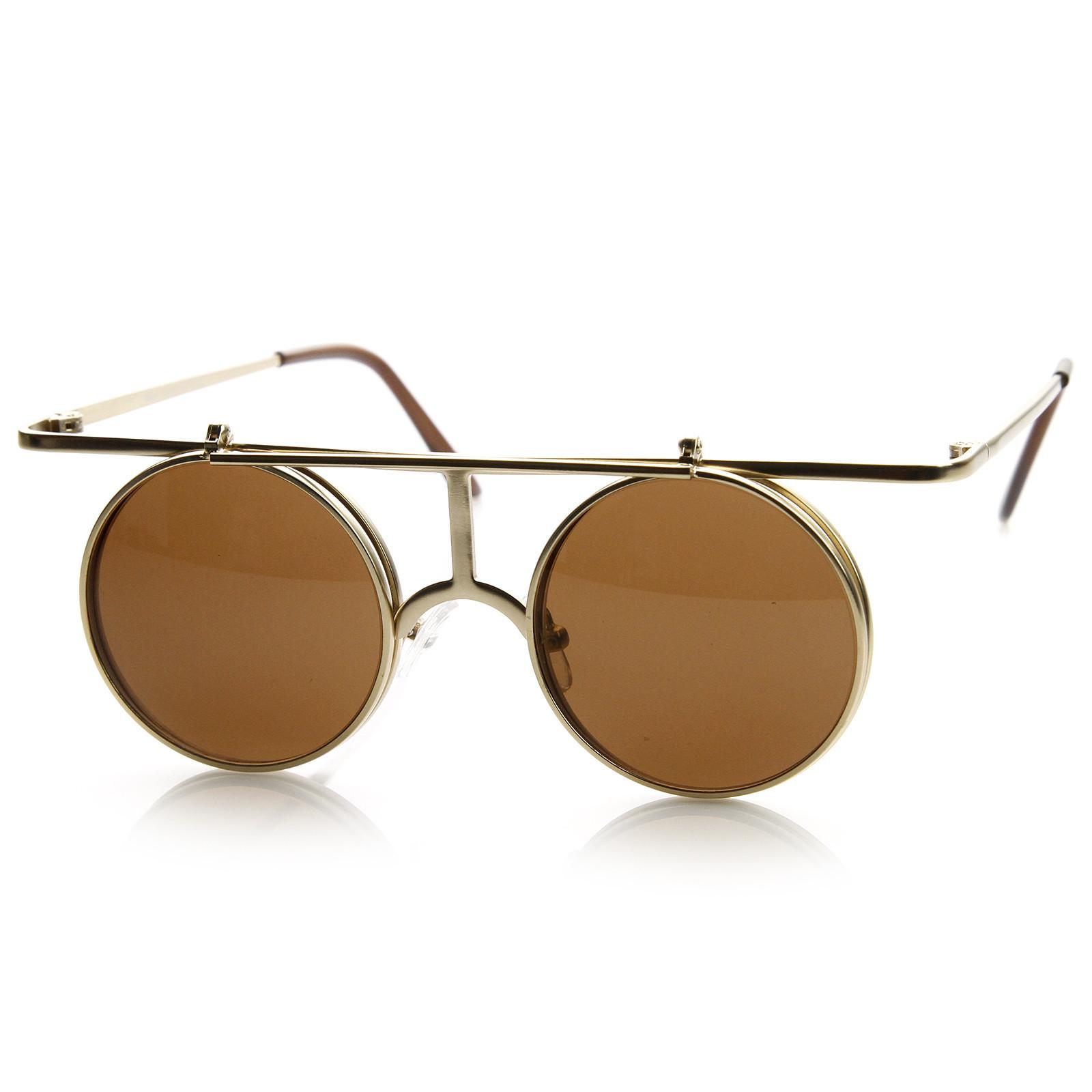 Steampunk Vintage Inspired Fashion Crossbar Flip Up Metal Sunglasses