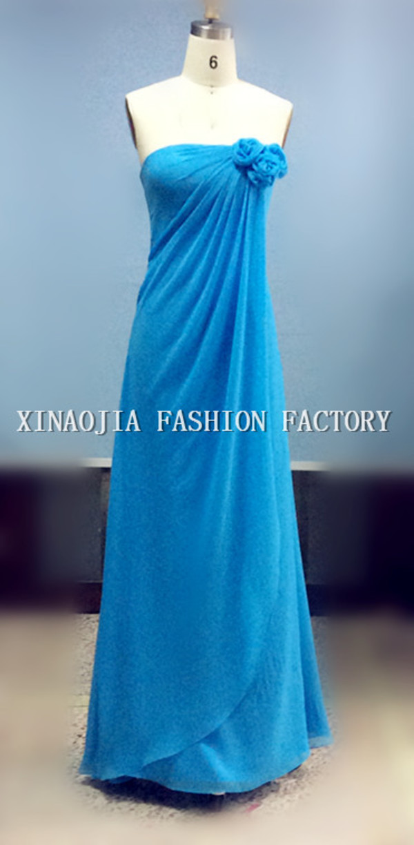 blue evening dresses long prom dress flower strapless neckline dresses