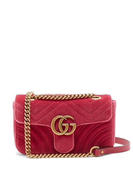 gucci cross mini quilted bag velvet pink