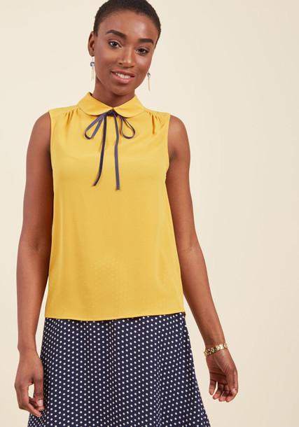IT18044 blouse back stylish desk yellow top