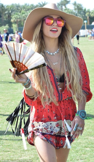 dress coachella vanessa hudgens red dress festival dress patterned dress boho dress