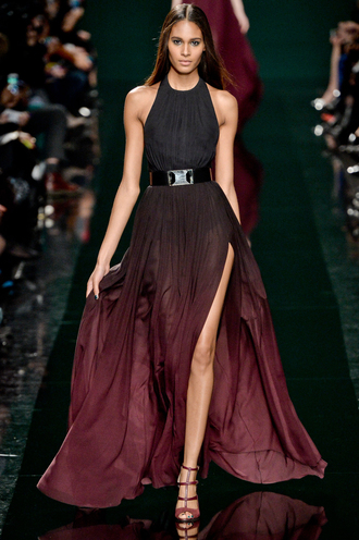 dress elie saab black color brown color wine color ombre dress halter dress belt maxi dress