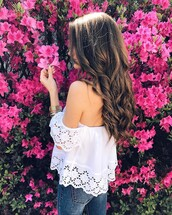 blouse,tumblr,top,white top,off the shoulder,off the shoulder top,lace top,white lace top,denim,jeans,blue jeans,hair,hairstyles,long hair,brunette