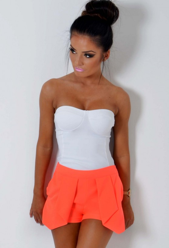 Inspired fashion for women cabana neon orange fitted panel shorts pink boutique