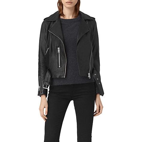 Buy AllSaints Leather Balfern Biker Jacket, Black   John Lewis