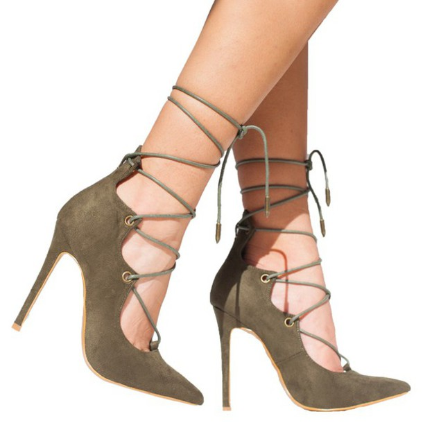 Shoes: pumps, strappy, strappy heels, strappy pumps, olive green ...