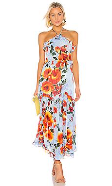 MISA Los Angeles Dallin Dress in Blue Multi Floral from Revolve.com
