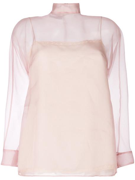 Prada blouse sheer blouse sheer women silk purple pink top