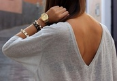 sweater,fall sweater,fall outfits,watch,t-shirt,shirt,jeans,High waisted shorts,shorts,denim shorts,swimwear,dress,brown,black,jewels,white,black and white,blouse,skater dress,high-low dresses,gold,top,v back,grey