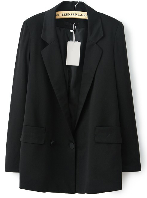 Black Notch Lapel Long Sleeve Pockets Blazer - Sheinside.com