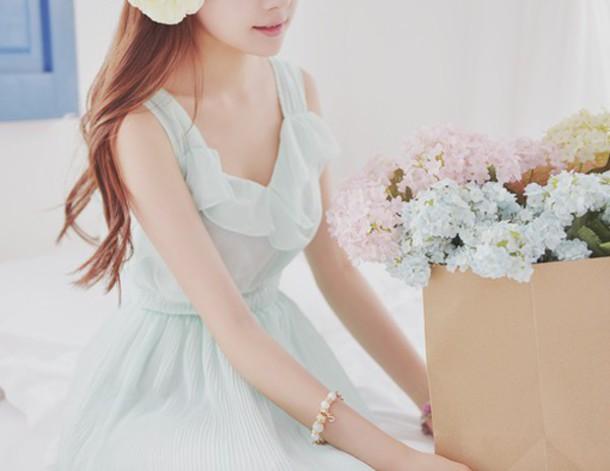 dress kfashion mint korean dress romantic dress flowy