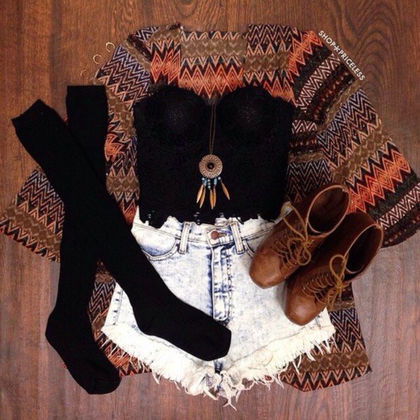 jewels top cardigan shorts