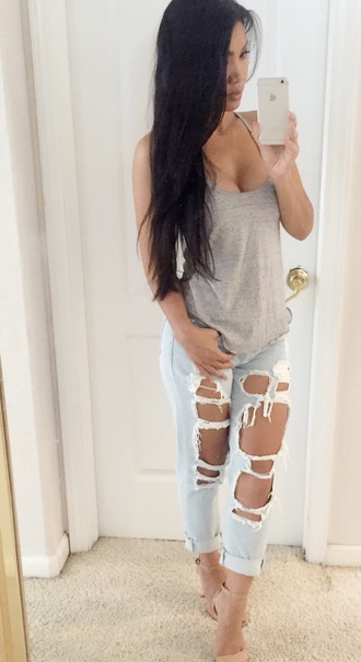pants jeans denim jacket cutting edge boyfriend jeans ripped jeans top style streetsylemoi streetwear streetstyle fashion trendy tank top