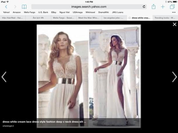 dress white dress gold belt slit dress