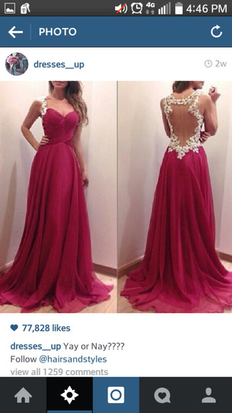lace dress open back prom dress