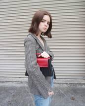 bag,woven bag,blazer,houndstooth,double3xposure,jacket