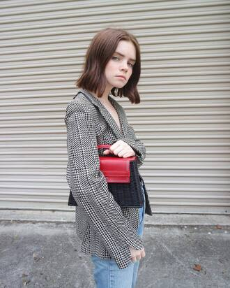 bag woven bag blazer houndstooth double3xposure jacket