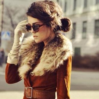 brunette faux fur amazing coat fur collar fur fur coat