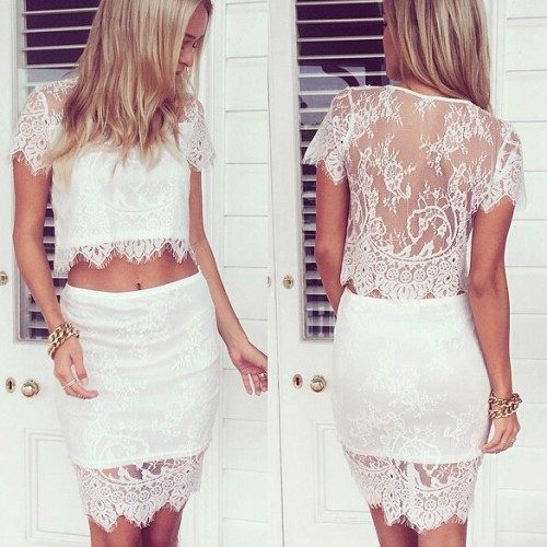 Delicate lace overlay 2 piece crop top & mini skirt set...