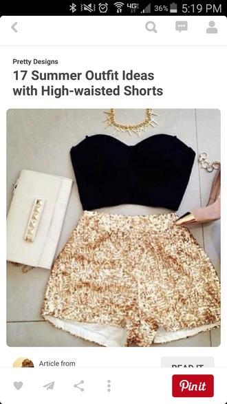 shorts gold sequins high waisted high waisted shorts