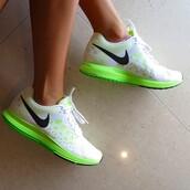 neon,neon green,running,nike,run,shoes,nike air zoom pegasus