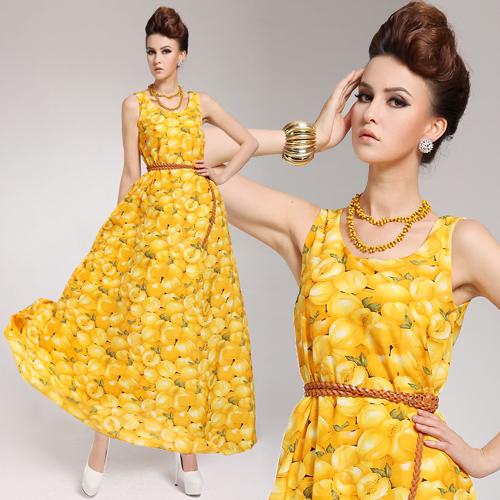 2014 spring and summer fruit flower yellow peach tank dress belt 2 | Amazing Shoes UK