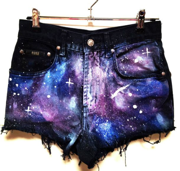 galaxy print shorts black denim shorts blue dark blue galaxy shorts little wolf vintage black black shorts stars purple light blue white galaxy print frayed
