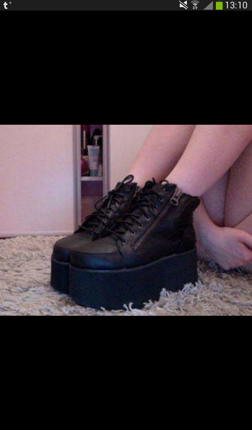 7b5c7f3538e shoes black platform shoes zip platform shoes alternative rock 90s style 90  platforms black fashion kawaii