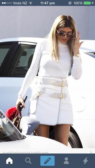 shirt kylie jenner white skirt white sunglasses white top skirt all white everything all white outfit