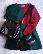 shoes,red,green,skirt,purse,clothes,boots,hat,sweater,sweatshirt,leather,bag,shirt